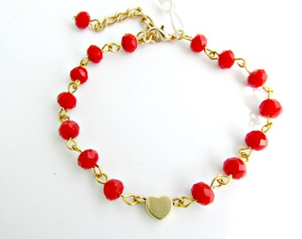 Red rosary beaded bracelet / Gold heart bracelet / Chain red beaded bracelet / Rosary chain bracelet / Gift for her