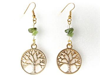 Tree of life earrings / Peridot earrings / Gold earrings / Dangle earrings / Peridot Jewelry / Boho earrings / Green and gold / Gift for her