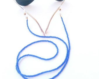 Blue beaded glasses chain, Blue sunglasses beaded cord, Sunglasses holder, Eyewear accessories, Blue sunglasses strap, Sunglasses necklace