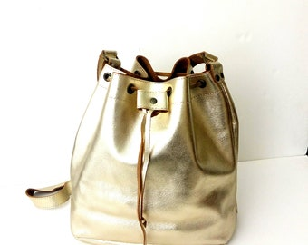 Bucket gold Leather bag Greek leather bag Metalic bucket gold bag Handmade bag Gold leather shoulder bag Crossbody leather bag