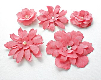 Fabric flowers - Hot pink flowers - Tattered floral - Flowers embellishment - Pink fuchia fabric flowers