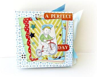 Boy mini album Baby boy Scrapbook mini album Premade newborn shower gift Boy photo mini book