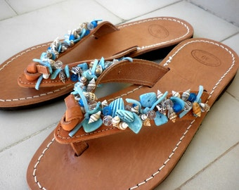 Greek leather sandals with shell beads, Summer flats, Leather sandals, Shell beaded sandals, Blue decorated leather sandals,Summer sandals