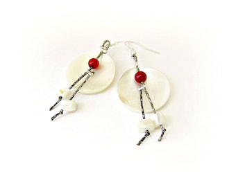 Ivory mother of pearl earrings / Dangle earrings / Artistic earrings / Red coral beads / Summer earrings / Boho chic earrings