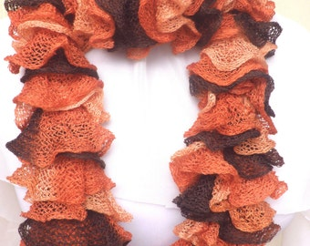 Orange brown frilly scarf- Halloween scarf- Fall colors orange brown scarf - Mother's day gift-Multicoloured winter scarf - neckwarmer
