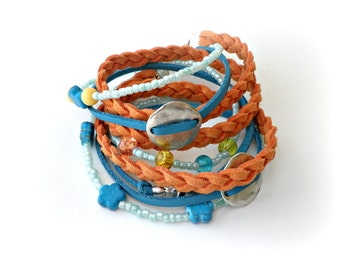 Wrap boho bracelet - Orange blue suede bracelet - Bohemian triple wrap summer bracelet