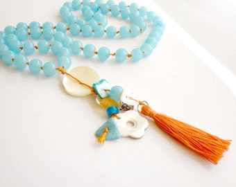 Long tassel necklace - Beaded necklace - Summer necklace - Blue beaded necklace - Orange tassel shell beads necklace - Beachwear necklace