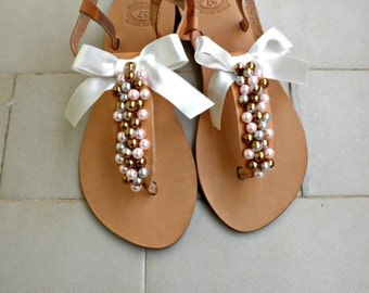 Wedding sandals -Pearls sandals - Gold pink pearls and satin bow sandals - Greek leather sandals -Bridesmaids shoes - Beach wedding flats