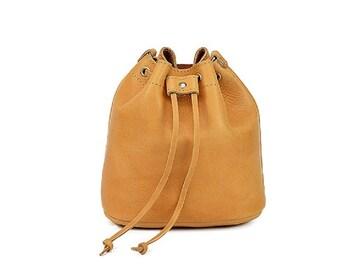 Bucket leather bag, Natural leather bag, Greek leather bag, Leather handbag, Crossbody Shoulder leather bag, Made in Greece, Gift for her
