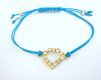 Heart friendship bracelet, Blue cord bracelet, Adjustable friendship bracelet, Minimalist jewelry, Summer bracelet, Layering jewelry