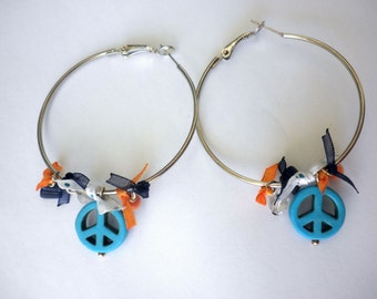 Bohemian hoop turquoise peace sign earrings - beaded large hoop earrings - Turquoise,orange blue earrings - Spring ,summer earrings