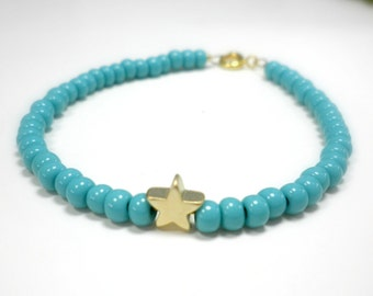 Tiny charm bracelet - Gold star beaded bracelet - Turquoise beaded star bracelet - Blue beaded charm bracelet - Pink beaded star bracelet