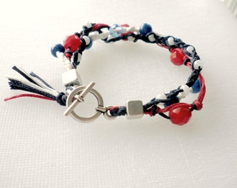 Navy blue red and white nautical Triple summer bracelet,Macrame bracelet,Beach jewelry,Blue red whiteTassel bracelet,Braided bead bracelet