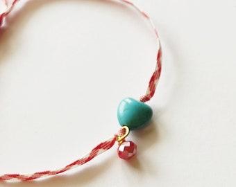 Βραχιόλι Μάρτης με γαλάζια χάντρα καρδιά χαολίτη / Bracelet March with blue heart