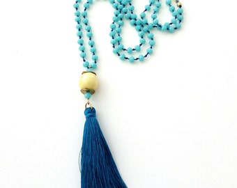 Blue tassel beaded necklace Boho blue and yellow necklace with tassel Rosary necklace Long beaded necklace Bohemian jewelry Gift for her