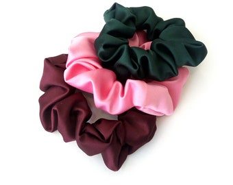 Set of 3 satin scrunchies, Σετ 3 σατέν λαστιχάκια για τα μαλλιά
