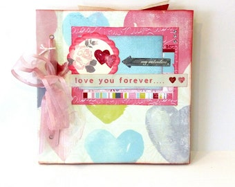 Valentine's day gift, Scrapbook mini album, Love mini album, Premade album, Photo book, Memories album, Square 6x6, Ready to ship