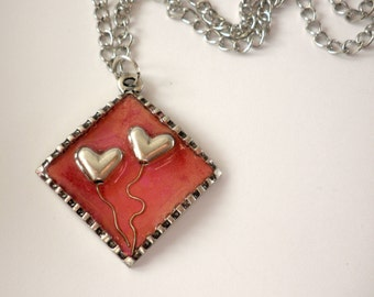 Two hearts pendant- Pink ,red pendant -Valentine's day jewelry-Red pendant-Hearts pendant with chain-Valentine's day pendant -Heart necklace