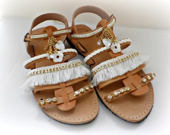 Wedding gladiator sandals, Boho chic sandals, White and gold sandals, Wedding sandals, Spartan sandals, Beach wedding, Women summer shoes