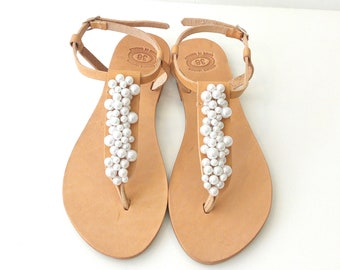 Pearl sandals, Bridal sandals, Wedding sandals, Greek leather sandals, Decorated sandals with white pearls, Beach wedding flats
