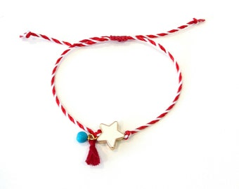 Red and white string with white enamel star tassel blue bead bracelet, Star March bracelet, Spring adjustable bracelet, Greek Martis