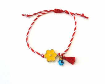 Bραχιόλι Μάρτης με κίτρινο λουλούδι