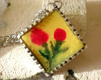 Long necklace-Red flower yellow pendant-Spring necklace-Unique pendant-Multicolor pendant -Enamel flower  pendant - Red,yellow,green flowers