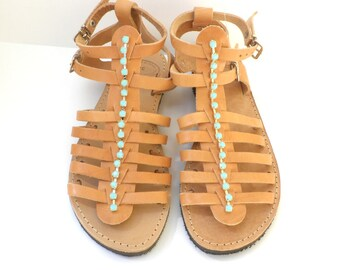 Gladiator sandals, Spartan sandals, Greek leather sandals,Summer flats, Genuine leather sandals, Women summer flats,Beach shoes