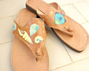 Sale 50% Greek leather sandals, Hand painted with shells and fishes sandals, Summer shoes, Beach flip flops,