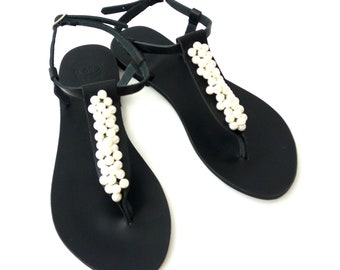 Black leather sandals, Pearl sandals, Greek leather sandals, Beach party flats, Ivory pearls, Summer sandals, Handmade sandals, Women shoes