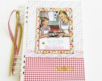 Handmade Cook book,Recipes book, Cooking Journal, Christmas gift, Scrapbooking kitchen album, Mothers day gift, Vintage floral recipes book
