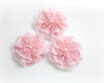 Pink lace flowers with pearls - Fabric flowers - Scrapbooking embellishment - Baby girl pink flower - Headband flowers - Craft supplies diy