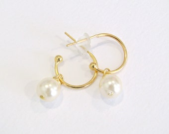 Eπίχρυσα σκουλαρίκια κρίκοι με πέρλα / Gold plated hoop earrings with pearls
