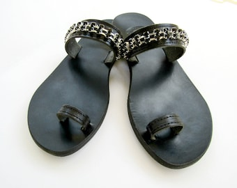 Black sandals, Black rhinestones chain, Greek sandals, Toe ring sandals, Handmade sandals, Summer shoes, Beach flats, Ancient sandals