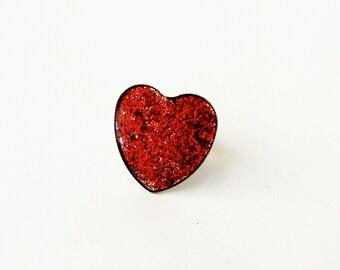 Δαχτυλίδι καρδιά με κόκκινο γκλίτερ / Red Heart ring