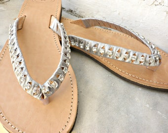 Wedding sandals- Greek leather sandals - Rhinestones crystal and satin ribbon flip flops,Bridesmaids shoes,Summer sandals