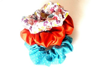 Turquoise polka dot scrunchies, Satin orange scrunchy, Floral scrunchies, Hair ties, Set of 3 scrunchies, Hair fashion trend, Gift for girls