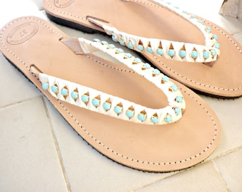Wedding sandals - Greek leather sandals - Turquoise rhinestone sandals -Bridesmaids sandals -Beach flip flops with rhinestones