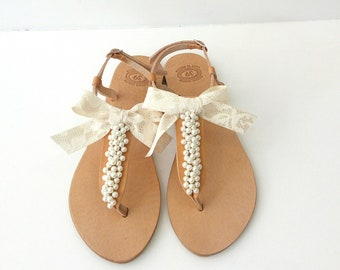 Wedding sandals withe ivory pearls and lace bow, Bridal pearl sandals, Greek leather sandals, Beach wedding shoes, Summer wedding shoes