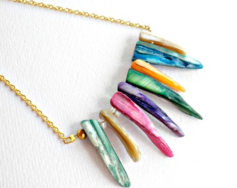 Fun necklace- Mother of pearl necklace- Colorful bar gold necklace -Stick mother of pearl necklace - Summer necklace - Gold chain necklace