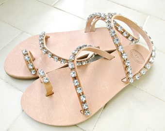 Rhinestone decorated leather sandals/ Wedding sandals/ Bridesmaids sandals /Greek leather toe ring sandals/ Summer Women 's leather sandals