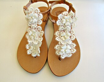 Beach wedding sandals Greek leather sandals Sandals with white flowers  Bridal shoes Lace flowers wedding shoes  Beach wedding party sandals