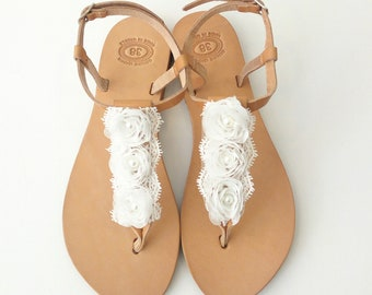 Wedding leather sandals with white flowers, Bridal sandals, White flowers shoes, Bridesmaids sandals, Beach wedding sandals, Greek sandals