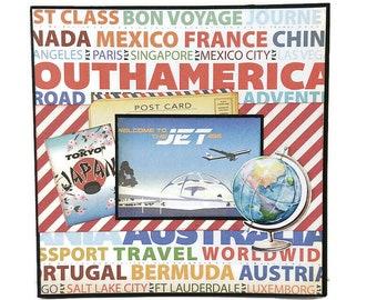 Travel mini album, Premade pages album, Accordion mini album, Vacation memories album, Square 6x6 inches album, Photo book, Ready to ship