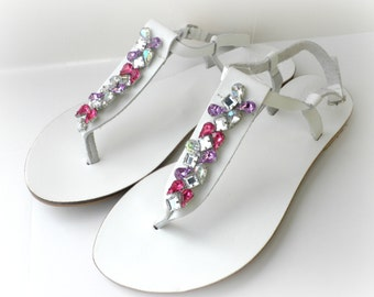 White sandals decorated with fuchsia purple pink rhinestones, Wedding sandals, Bridal party flats, Greek leather sandals, Beach wedding
