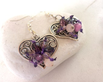 Heart earrings-Bohemian earrings-Purple heart earrings-Dangling filigree metal hearts with purple glass beads - purple earrings-metal hearts