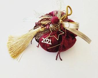 Velvet bordeaux pumpkin new year 2021 protection gift, Christmas ornament, New year 2021 gift, Good luck ornament Christmas Greek gouri gift