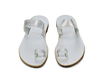 Silver leather toe ring sandals, Greek leather sandals, Beach wedding shoes, Luxury sandals Summer shoes Bridal party flats Wedding shoes