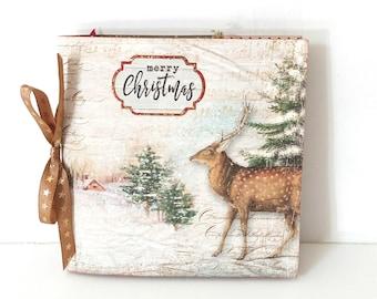 Christmas handmade mini album 6x6 Holiday memories Premade pages, Christmas photo book, Merry Christmas album, Christmas gift