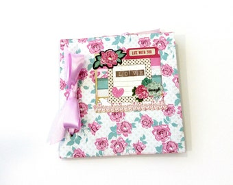 Retro floral mini album, Scrapbook album, Valentine's day gift, Premade album, Square 6x6 book, Anniversary unique gift, Mothers day gift
